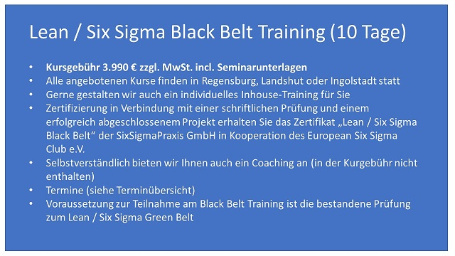 Six Sigma Black Belt - Training, Schulung